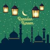 Ramadan Kareem ferieislam, moskéer, minaret, illustrationer med arabiska lyktor och det guld- halvmånformigt, stjärnklar himmel vektor illustrationer