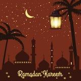 Ramadan Kareem ferieislam, mosk?er, minaret, illustrationer med arabiska lyktor och det guld- halvm?nformigt, stj?rnklar himmel vektor illustrationer