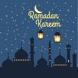 Ramadan Kareem ferieislam, mosk?er, minaret, illustrationer med arabiska lyktor och det guld- halvm?nformigt, stj?rnklar himmel stock illustrationer