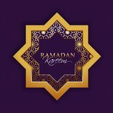 Ramadan Kareem festival celebration with golden star and floral. Patterned on purple background Royalty Free Stock Photography
