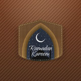 Ramadan Kareem festive Label with Ribbon. Islam Holiday Background Template. Vector Illustration Royalty Free Stock Photography