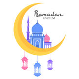 Ramadan Kareem flat. Ramadan kareem greeting. arabic calligraphy with mosque moon and lanterns. isolated islam color flat illustration. arabic symbol. ramadan