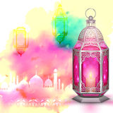 Ramadan Kareem (Generous Ramadan) background. Illustration of Ramadan Kareem (Generous Ramadan) greeting with illuminated lamp