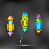 Ramadan Kareem (Generous Ramadan) background. Illustration of illuminated lamp on Ramadan Kareem (Generous Ramadan) background Royalty Free Stock Photos