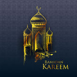 Ramadan Kareem Generous Ramadan greetings in Arabic freehand with mosque Royalty Free Stock Images