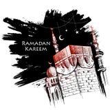 Ramadan Kareem Generous Ramadan greetings for Islam religious festival Eid with freehand sketch Mecca building. Illustration of Ramadan Kareem Generous Ramadan Royalty Free Stock Photos