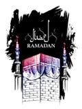 Ramadan Kareem Generous Ramadan greetings for Islam religious festival Eid with freehand sketch Mecca building. Illustration of Ramadan Kareem Generous Ramadan Royalty Free Stock Photography