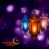 Ramadan Kareem Generous Ramadan greetings for Islam religious festival Eid with illuminated lamp. Illustration of Ramadan Kareem Generous Ramadan greetings for Royalty Free Stock Images