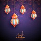 Ramadan Kareem Generous Ramadan greetings for Islam religious festival Eid with illuminated lamp. Illustration of Ramadan Kareem Generous Ramadan greetings for Royalty Free Stock Photography