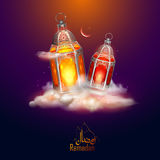 Ramadan Kareem Generous Ramadan greetings for Islam religious festival Eid with illuminated lamp stock illustration