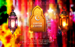 Ramadan Kareem Generous Ramadan greetings for Islam religious festival Eid with illuminated lamp. Illustration of Ramadan Kareem Generous Ramadan greetings for Stock Images