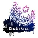 Ramadan Kareem Generous Ramadan-groeten in Arabische kalligrafie uit de vrije hand Stock Afbeeldingen