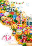 Ramadan Kareem Generous Ramadan hälsningar för den religiösa festivalen Eid för islam på helig månad av Ramazan royaltyfri illustrationer