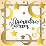 Ramadan Kareem Generous Ramadan. Moon and stars Ramadan Kareem Generous Ramadan card in vector format Stock Photos