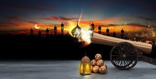 Ramadan kareem, geschotene kanonnen, het 3d teruggeven Royalty-vrije Illustratie