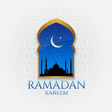 Ramadan kareem - gold door and moon and star  at night vector design Royalty Free Stock Images