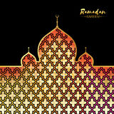 Ramadan Kareem gold mosque for greeting card background. Ramadan Kareem. Arabic Mosque, clouds and star in paper cut style. Arabesque pattern. Crescent Moon Royalty Free Stock Photo