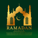 Ramadan kareem with Gold Mosques and moon star in window on green background vector design Royalty Free Stock Images