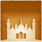 Ramadan kareem golden background with Islamic mosque Royalty Free Stock Images