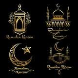 Ramadan Kareem golden logo set royalty free illustration