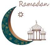 Ramadan kareem with golden luxurious crescent moon and lantern, template islamic ornate greeting card vector royalty free illustration