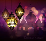 Ramadan Kareem, greeting background. With hanging lights vector Stock Images