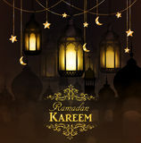 Ramadan Kareem, greeting background. With hanging stars moons and lights stock photos
