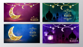Ramadan Kareem, greeting background. With hanging stars moons and lights banner set vector Stock Photography