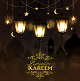 Ramadan Kareem, greeting background. With hanging stars moons and lights vector stock photos