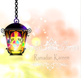 Ramadan Kareem, greeting background. With pattern and colorful stained glass  light Royalty Free Stock Photos