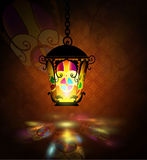 Ramadan Kareem, greeting background. With pattern and colorful stained glass light stock photography