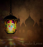 Ramadan Kareem, greeting background. With pattern and colorful stained glass light and Silhouette of mosque stock photography