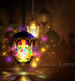 Ramadan Kareem, greeting background. With pattern and colorful stained glass  light  and Silhouette of  mosque Stock Photos