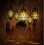 Ramadan Kareem, greeting background. With pattern and light Mosque silhouette Royalty Free Stock Photography