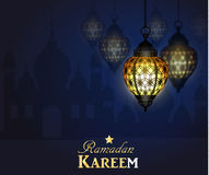Ramadan Kareem, greeting background. With pattern and light Mosque silhouette Stock Photography