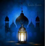 Ramadan Kareem, greeting background. With pattern and light Mosque silhouette vector Stock Photos