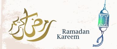 Ramadan Kareem greeting banner with traditional islamic lantern hand drawn sketch on grunge background. Arabic calligraphy elegant. Vintage vector illustration royalty free illustration