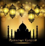 Ramadan Kareem greeting on blurred background with beautiful illuminated arabic lamp Vector illustration. Royalty Free Stock Photos