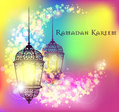 Ramadan Kareem greeting on blurred background with beautiful illuminated arabic lamp Vector illustration. stock illustration