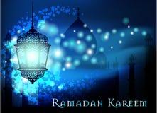 Ramadan Kareem greeting on blurred background with beautiful illuminated arabic lamp Vector illustration. Stock Photography