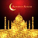Ramadan Kareem greeting on blurred background with beautiful illuminated arabic lamp Vector illustration. Royalty Free Stock Image
