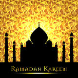 Ramadan Kareem greeting on blurred background with beautiful illuminated arabic lamp Vector illustration. Royalty Free Stock Photography