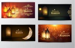 Ramadan Kareem greeting card banners set stock illustration