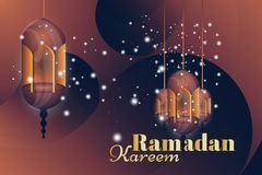 Ramadan Kareem greeting card. Beautiful glowing lamps on a background. Vector illustration EPS 10 Stock Images