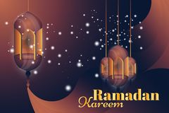 Ramadan Kareem greeting card. Beautiful glowing lamps on a background. Vector illustration EPS 10 Royalty Free Stock Photography