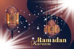 Ramadan Kareem greeting card. Beautiful glowing lamps on a background. Vector illustration EPS 10 Stock Photo