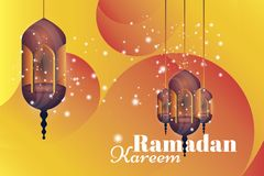 Ramadan Kareem greeting card. Beautiful glowing lamps on a background. Vector illustration EPS 10 Royalty Free Stock Photos