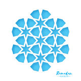 Ramadan Kareem Greeting card .Blue Origami Arabesque Mosque Window. Arabic Ornamental pattern in paper cut style.Holy Royalty Free Stock Images