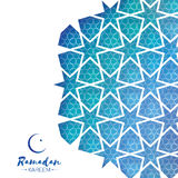 Ramadan Kareem Greeting card .Blue Origami Arabesque Mosque Window. Arabic Ornamental pattern in paper cut style.Holy Stock Image