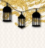 Ramadan Kareem Greeting Card Calligraphy con le lanterne tradizionali Immagine Stock Libera da Diritti